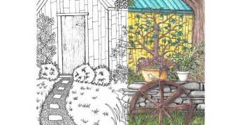 coloring page for grown ups garden scene yet another mom