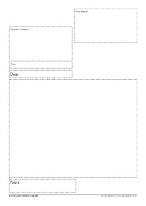 Formal Letter Template Ks2 Letter Writing Frames And Printable Page Borders Ks1 Ks2 Sparklebox