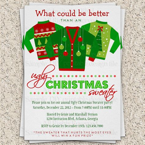 ugly christmas sweater party invitation ugly by