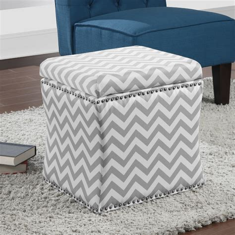 Chevron Storage Ottoman Curved Grey Chevron Storage Ottoman Contemporary Footstools And Ottomans By Overstock