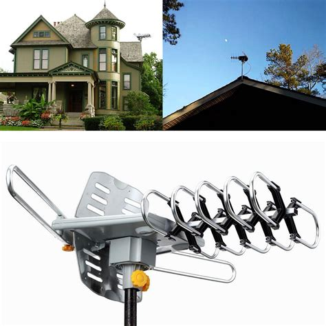 outdoor 1080p hdtv lified antenna digital hd tv 150 mile 360 rotor uhf vhf ebay