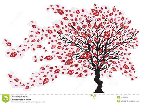 Baum Mit Roten Bl Ttern 136 by Baum Im Wind Mit Fallenden Bl 228 Ttern Vektor Abbildung