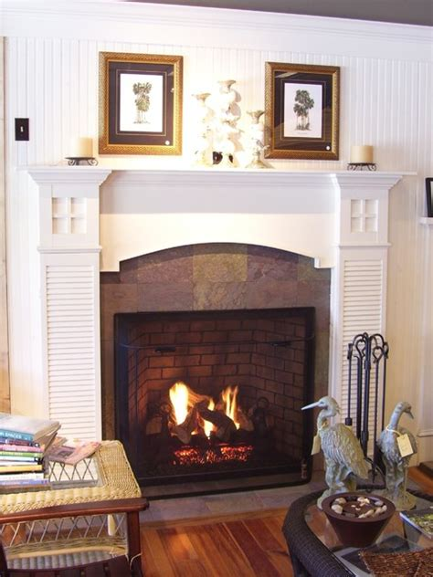Beach cottage fireplace   Traditional   Family Room