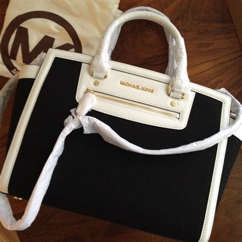 Mk Selma Twotone michael kors bag selma black and white jordans mkoutlet