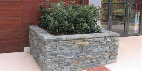 Stacked Planter Boxes by Remarkables Park Queenstown Spencestonemasons Co Nz