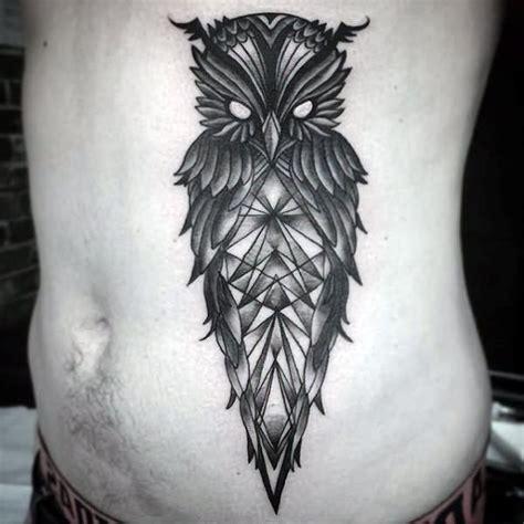 tattoo owl man black ink geometric owl tattoo on man side belly tattoos
