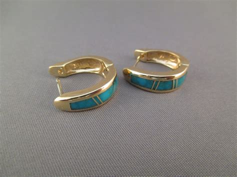 how to make inlay jewelry 14kt gold kingman turquoise inlay earrings inlay jewelry