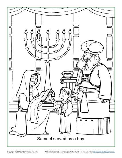 Samuel Served As A Boy Coloring Page Children S Bible Samuel Coloring Pages From The Bible