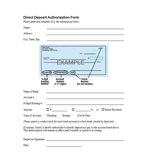 47 Direct Deposit Authorization Form Templates Template Archive Direct Deposit Template