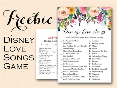 Shower Songs by Free Printable Disney Songs Bridal Shower With