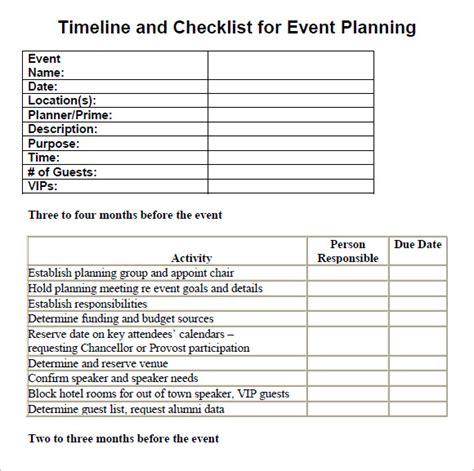 13 Sle Event Planning Checklist Templates Sle Templates Event Planning Timeline Template