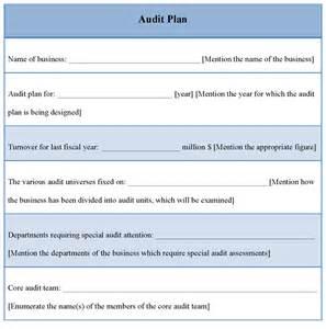 audit plan sle of audit plan template sle templates