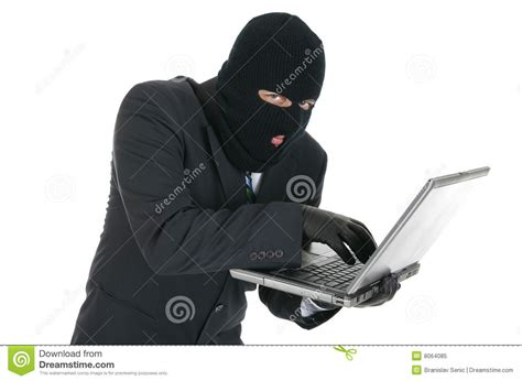 A White With A Criminal Record Is More Likely To Get A Computer Hacker Criminal With The Laptop Royalty Free Stock Photo Image 8064085
