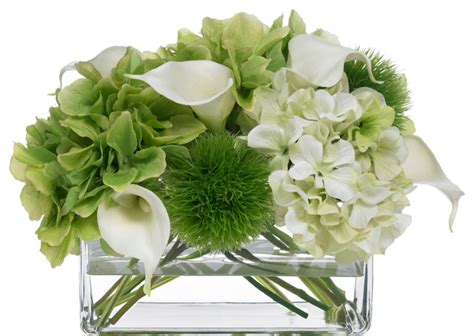 Silk Flower Arrangements For Dining Room Table by Blooms Hydrangea And Calla Lily Bouquet Transitional