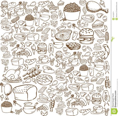 doodle food vector free food doodle stock vector illustration of bacon