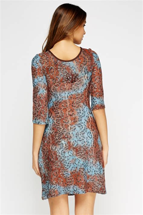 lace swing dress lace overlay swing dress brown multi or pink multi just 163 5