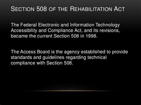 section 508 of the rehabilitation act requires federal agencies to social media as it relates to students with disabilities