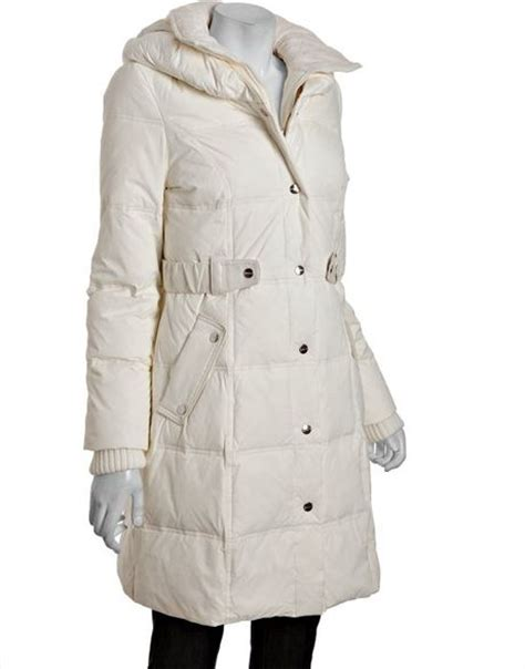 Pillow Collar Coats by Dkny Ivory Quilted Pillow Collar Belted Coat In White