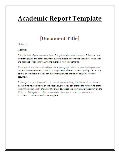 Educational Reports Free Reports Report Writing Template