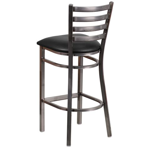 restaurant bar stools clear coated ladder back metal restaurant barstool with black vinyl seat bfdh 6147clrbkladbar