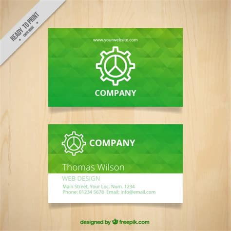 green card template green business card template with geometric shapes vector