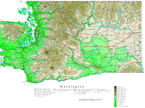 elevation map of us cities washington contour map