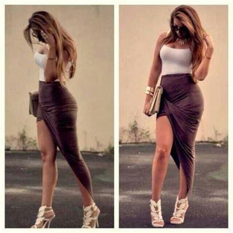 skirt brown thin curvy high high low wrap