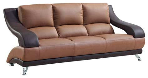 Two Tone Leather Sofa Two Tone Brown Bonded Leather Sofa Contemporary Sofas By Overstock