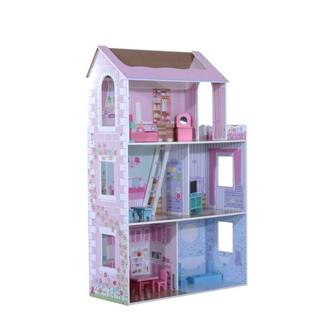 pink wooden doll house qaba 3 floor wooden dollhouse cottage with furniture
