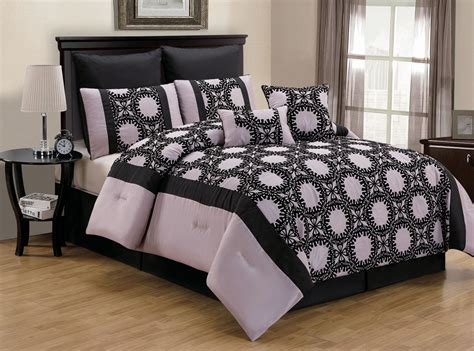 Lilac Comforter Sets by 8 Ambreena Dusty Lilac Black Comforter Set