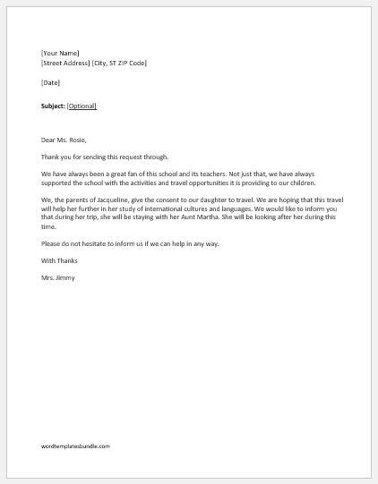 Parent Consent Letter Work consent letters sle templates formal word templates