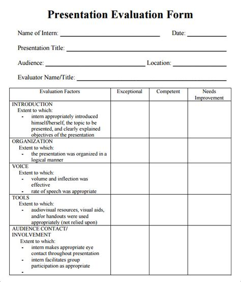 evaluation form template presentation evaluation 7 free for pdf
