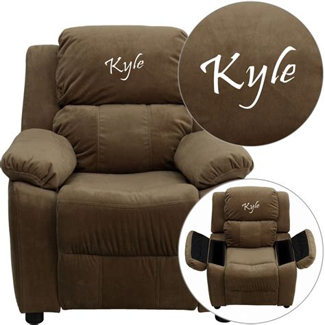 Personalized Recliners by Personalized Deluxe Padded Brown Microfiber Recliner