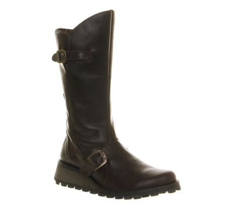 rugged leather boots womens fly fly mes wedge calf boots brown rugged leather boots ebay