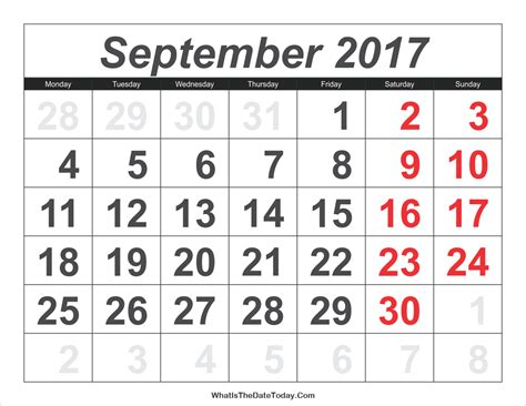 printable calendar large numbers 2017 calendar september with large numbers