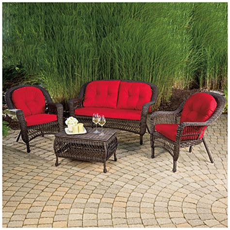 wilson and fisher patio furniture view wilson fisher 174 charleston resin wicker 4 seating set deals at big lots