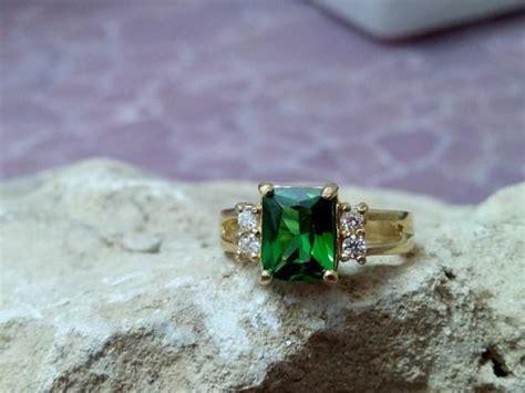 sale emerald ring rectangular ring gold rectangle ring