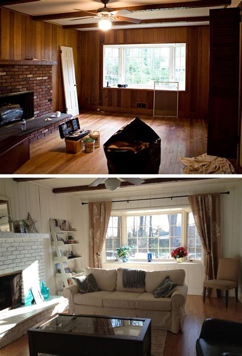 wood paneling makeover before and after my friend s house family room before after beachy
