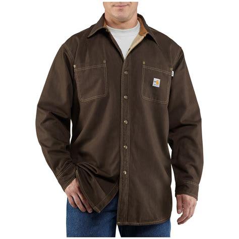 s carhartt 174 resistant canvas shirt jacket