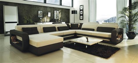 Beige Sectional Sofas Ultra Modern Cream And Black Leather Sectional Sofa Lmt 2200