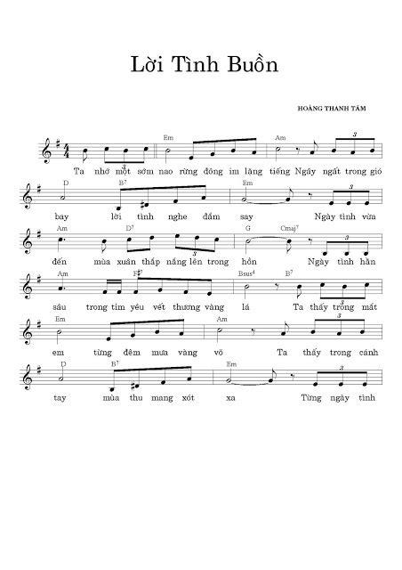 LỜI TÌNH BUỒN - 1000 Bài Sheet nhạc hay