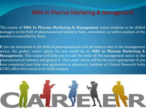 Future Of Mba In Marketing by Ppt Study Mba In Pharma Marketing Management For A