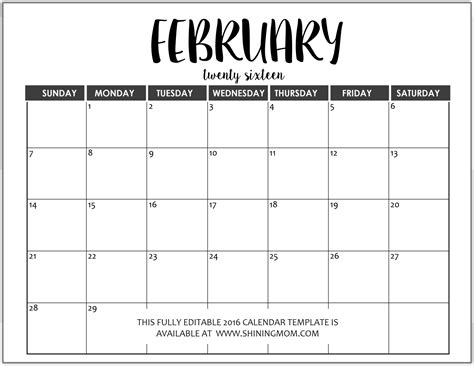 printable calendar word microsoft publisher calendar templates february 2016