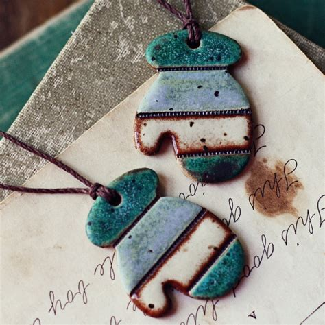 Handmade Clay Ornaments - sale earthy mittens handmade ceramic ornaments