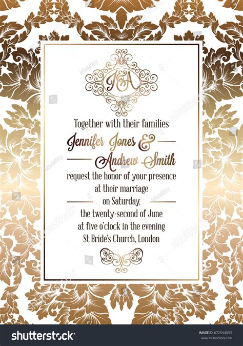 classic wedding card template vintage baroque style wedding invitation card stock vector