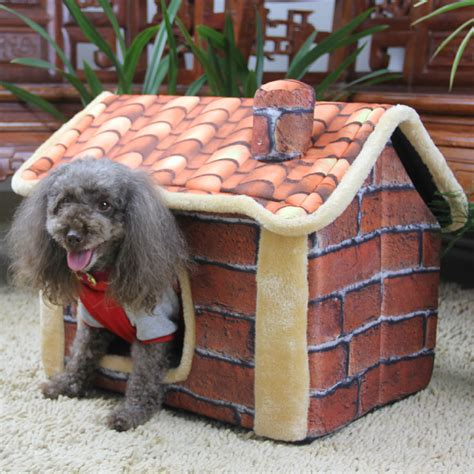 winter dog house new design mascotas pet dog cat villa chimney dog house autumn and winter dog bed in