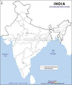 India Physical Map Outline In A4 Size by India Map Political Outline