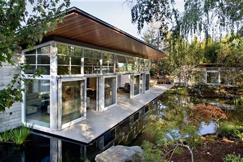 Sustainable House By The Pond Patio Doors Terrace Water Feature Sustainable Retreat