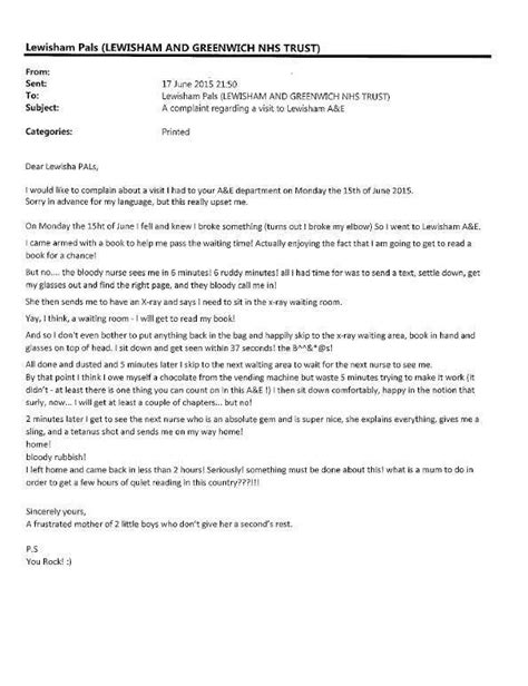 Service Issue Letter You Need To See This Nhs Complaint Letter Housekeeping