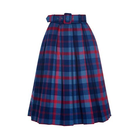 collectif vintage merida check pleated skirt